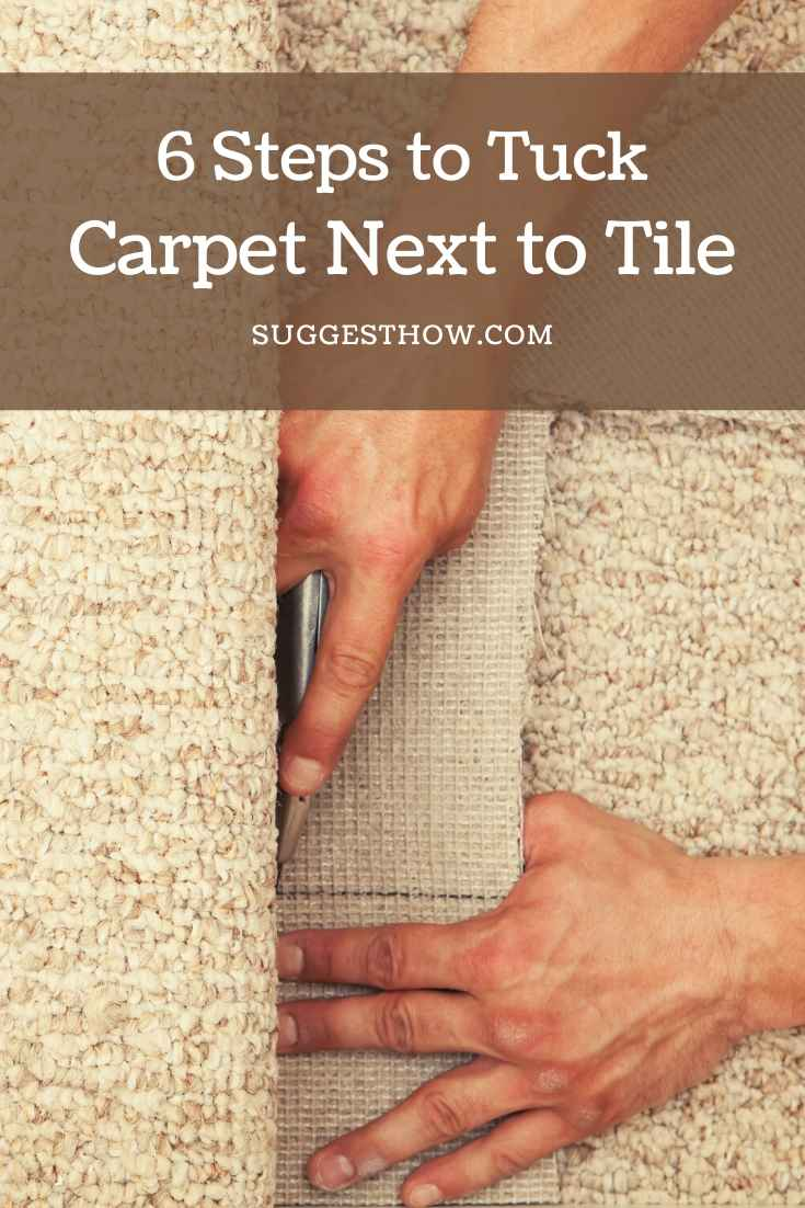 how to tuck carpet next to tile