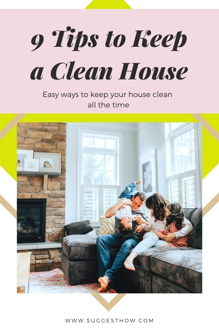 Pinterest Image of a Family in a Clean House